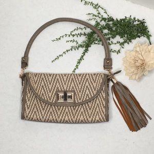 Melie Bianco Woven Vegan Leather Bag w/Tassel Fob
